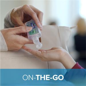 portable sanitizer, on the go, purse sanitizer, small bottle