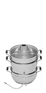 Deluxe Stainless Steel Steam Juicer with Tempered Glass Lid by VICTORIO VKP1150
