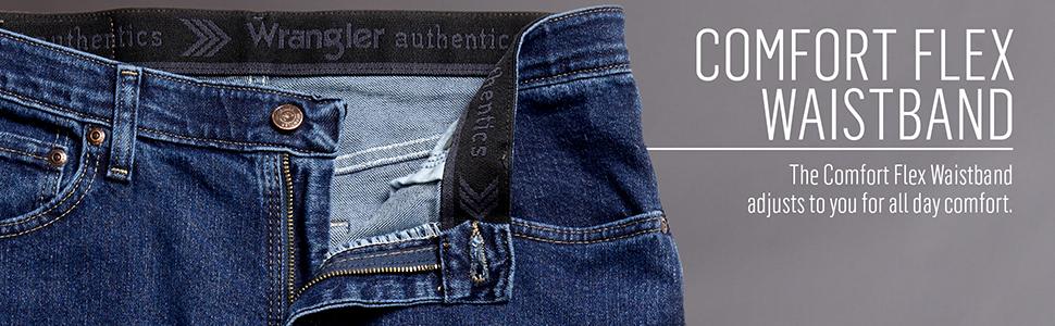 Wrangler Dark Blue Men/'s Comfort Flex Waistband Slim Straight Leg Denim Jeans