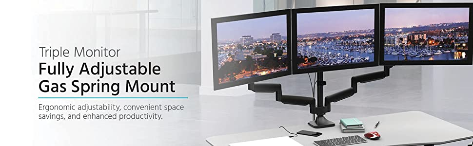"""Workstream Triple Monitor Gas Spring Mount for up to 32"""" Screens, Fully Adjustable Center Mount"""