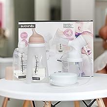 Suavinex - Pack Extractor eléctrico de leche materna. incluye Biberon anticólicos de silicona + 3 Bolsas almacenaje con tapón + Tarro almacenaje. ...