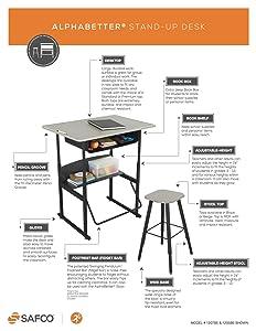Safco AlphaBetter Stand Up Student Desk
