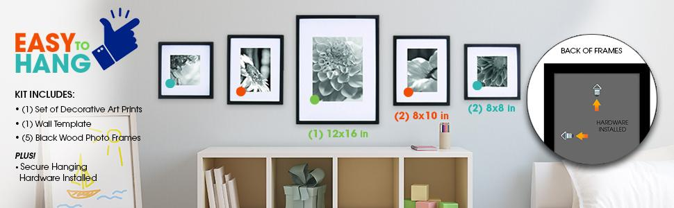 Amazon.com - GALLERY PERFECT 5 Piece Black Wood Photo Frame Wall ...