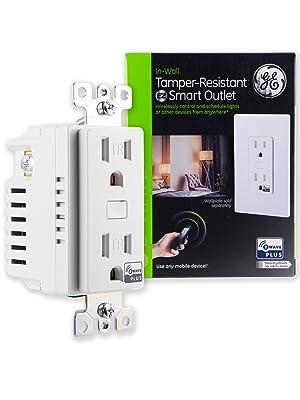 GE Enbrighten Z-Wave Plus Smart Receptacle Outlet, On/Off, Tamper Resistant, 1 On / 1