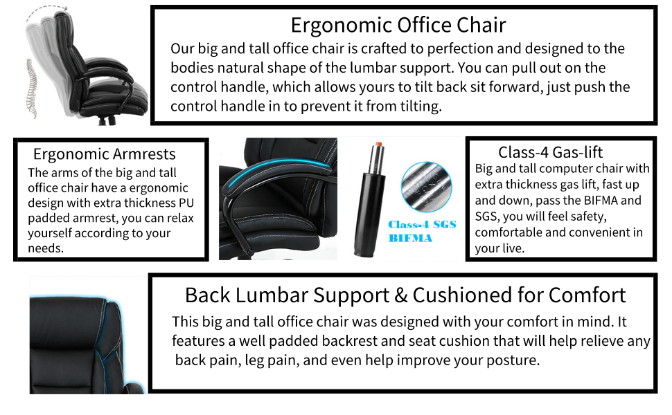 SP PU Office Chair Adjustable Tilt Angle and Flip-up Arms Executive Computer Desk Chair 6133WH Thick Padding for Comfort and Ergonomic Design for Lumbar Support