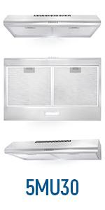 5mu30, under cabinet, range hood, stainless steel, digital timer, lcd screen, led lights, 30 inch
