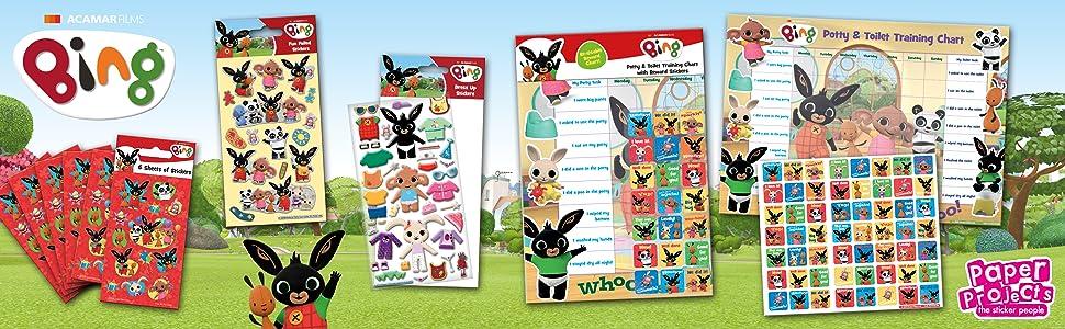 bing, króliczek, cbeebie, wielokrotnego użytku, naklejki, urodziny, impreza, prezent, prezent, zabawka, Boże Narodzenie, dekoracja
