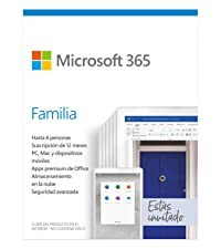 Microsoft 365 Familia | Suscripción anual o mensual | Para 6 PCs o Macs, 6 tabletas incluyendo iPad, Android, o Windows, además de 6 teléfonos | Box: Amazon.es: Software