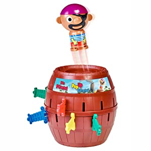 Pirate is popping out of barrel