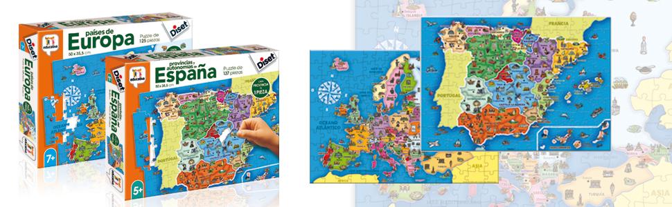 Diset- Puzzle Provincias-Autonomías137p Juguete educativos Provincias De España, Multicolor (68942): Amazon.es: Juguetes y juegos