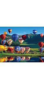 colorful hot air balloon landscape jigsaw puzzle, travel puzzle