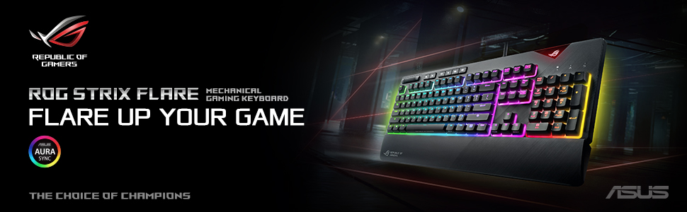 ASUS ROG Strix Flare RGB mechanical gaming keyboard Cherry MX Brown with  USB pass through, underglow and Aura Sync (UK Layout)