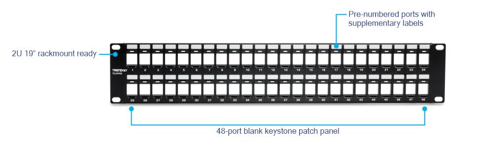 2 Pack 12port Blank Keystone Patch Panel w// wallmount
