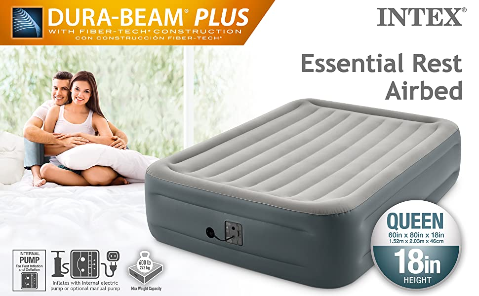 Intex Dura Beam Plus Series Essential Rest Airbed With Internal Electric Pump Bed Height 18 Queen Amazon Com Au Sports Fitness Outdoors