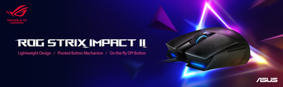 Asus ROG Strix Impact II ambidextrous, ergonomic gaming mouse with 6,200  dpi optical sensor, lightweight design and Aura Sync RGB lighting:  Amazon.co.uk: Computers & Accessories