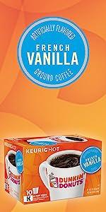 Dunkin Donuts French Vanilla flavored Keurig K-Cup Pods medium roast coffee 100% Arabica beans
