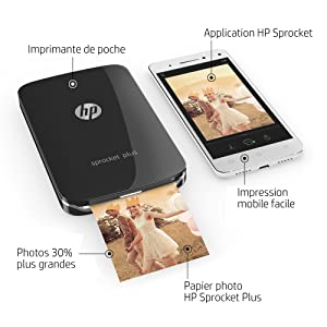 HP Sprocket Plus Imprimante Photo portable Noire