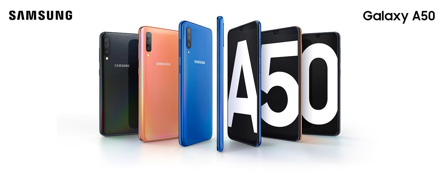 """Samsung Galaxy A50 de 6.4"""" (4 GB RAM, 128 GB ROM, 25 MP, Exynos 9610, Carga rápida)"""