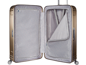 interior suitcase, cross ribbons, zipped divider