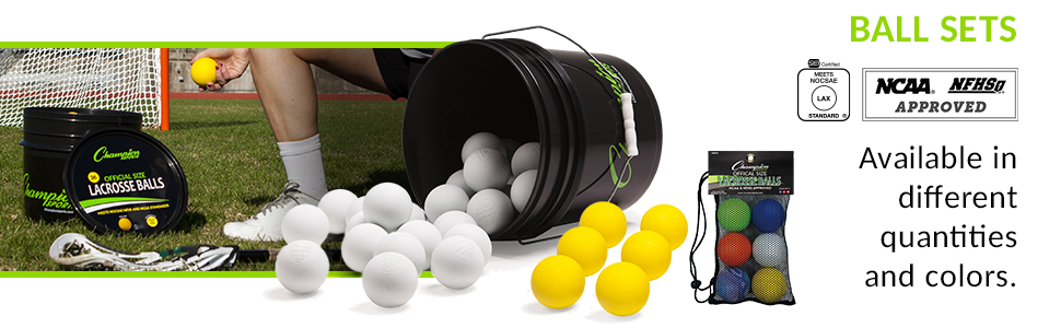Champion Sports - White Lacrosse Ball Bucket (LBWN36) and 6 Pack Assorted Lacrosse Ball (LBSET)