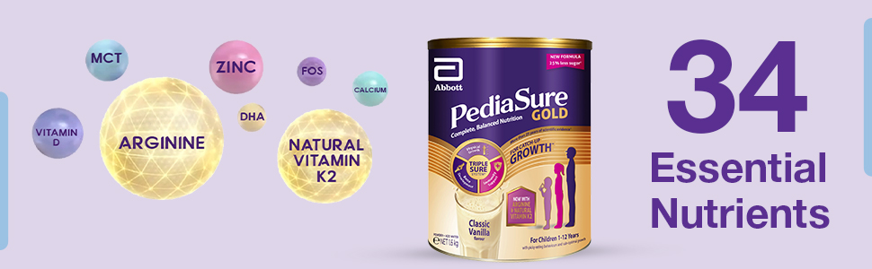 34 Essential nutrients for your child, Vitamins, Minerals, Pediasure for Child's above 12 years