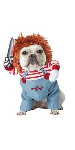 Chucky, Horror, Bride of Chucky, Dog Costume, Funny Pet, Pet Costume, Child's Play, Halloween