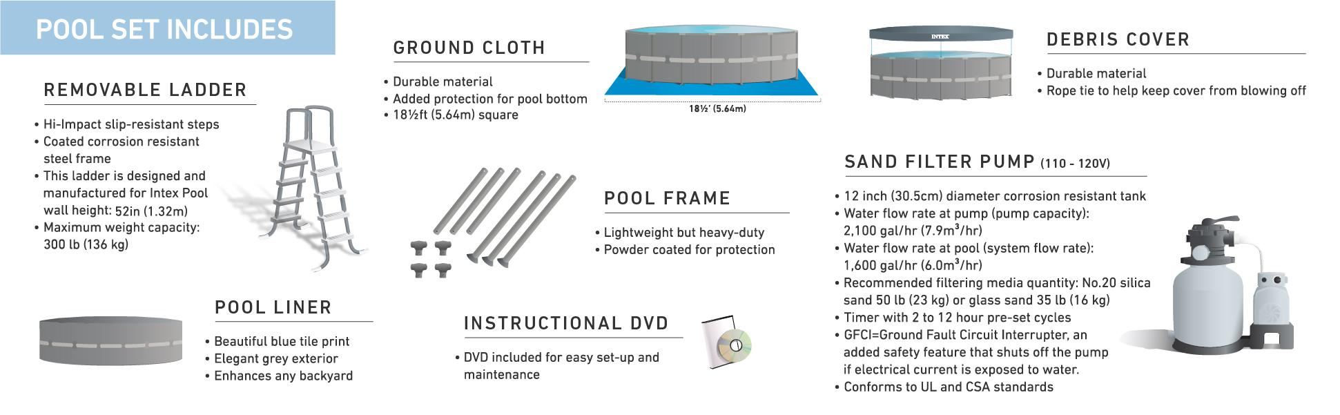 amazon com intex 18ft x 52in ultra frame pool set with sand filter