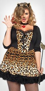 costume, plus size, animals, leopard, tiger, cat dress ears, paws