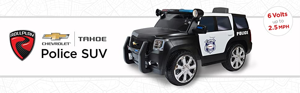 Rollplay 6 Volt Chevy Tahoe Police SUV Ride On Toy, Battery-Powered Kids Ride On Car