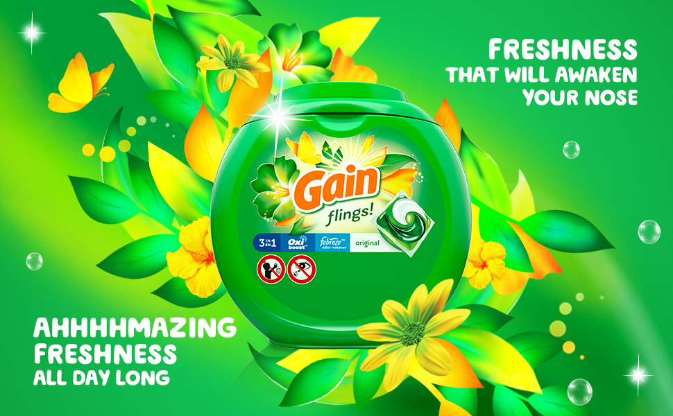 Gain flings with a freshness that will awaken your nose. Ahhhmazing freshness all day long.