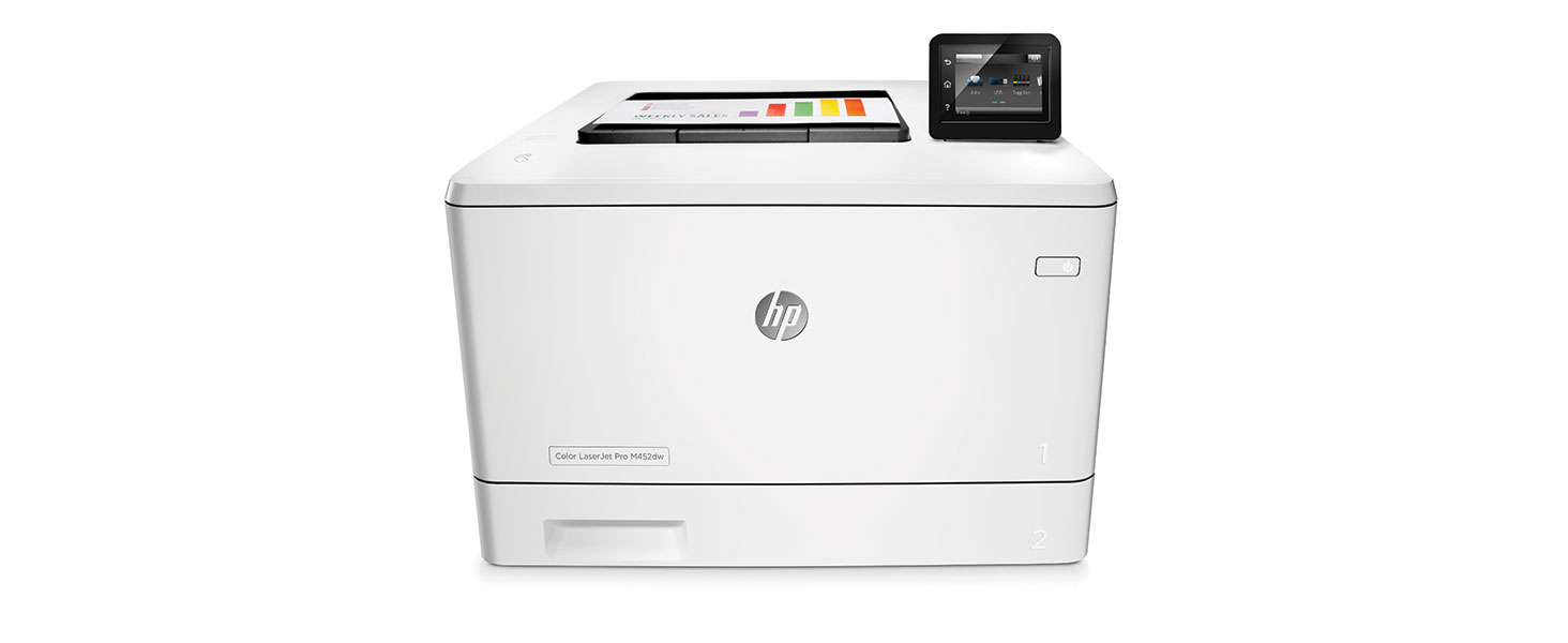 Amazon hp laserjet pro m452dw wireless color printer cf394a fast first page two sided speeds data secure toner cartridges touchscreen auto on auto fandeluxe Image collections