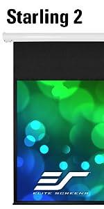 elite screen starling 2 front electric drop down tubular motor 4K HD 3D ready projector screen