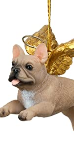 Design Toscano Honor the Pooch: French Bull Holiday Dog Angel Ornament