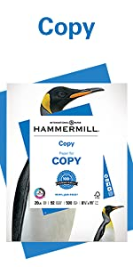 Ream of Hammermill 20 lb letter size print and copy paper, 500 sheets, Made in the USA.