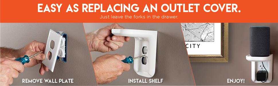 Echo dot shelf Bathroom outlet shelf Command shelf Wall outlet organizer Outlet stand Power perch