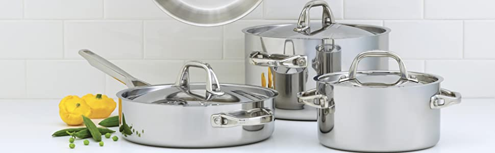 cookware, pots and pans, cookware set, stainless steel cookware, clad cookware, stainless steel pan