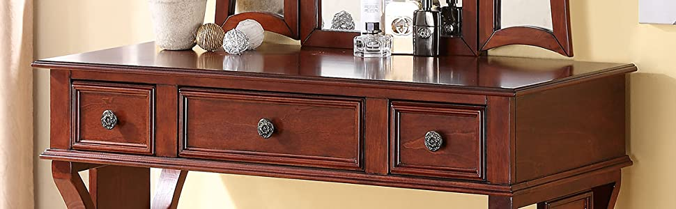 Brilliant Poundex Bobkona Edna Vanity Set With Stool Cherry Gamerscity Chair Design For Home Gamerscityorg