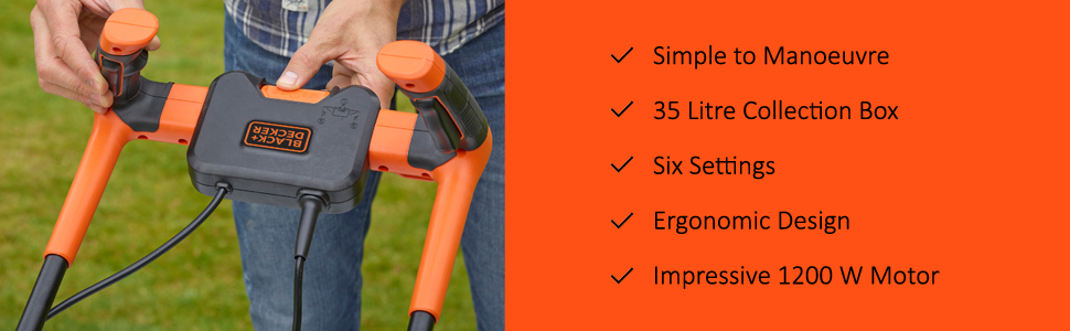 Easy to use, 35 Litre collection box, Six Settings, Ergonomic Design, 1200 W Motor