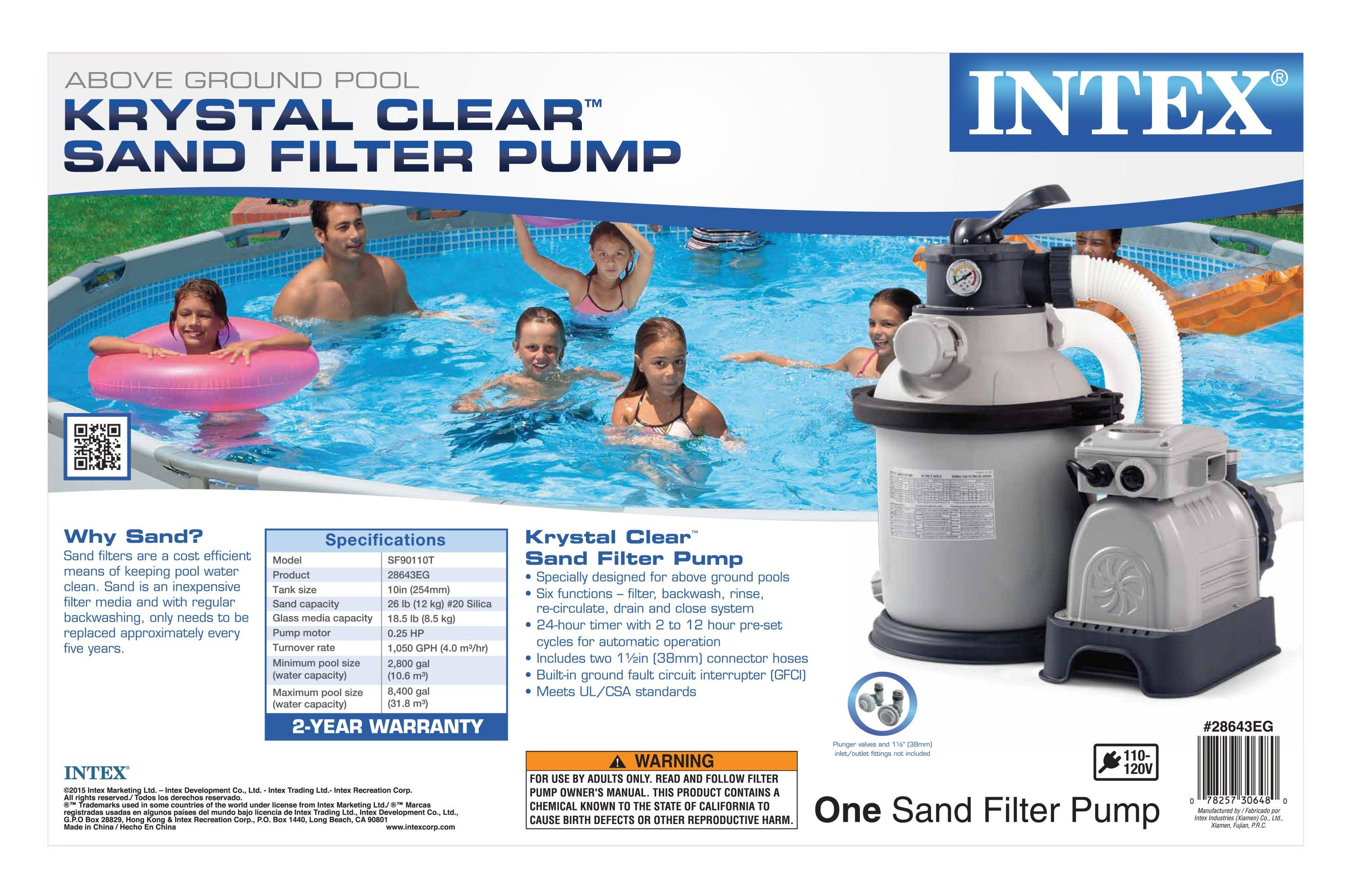 Intex krystal clear sand filter pump for above ground pools 1200 gph pump ebay - Pool filter sand wechseln ...