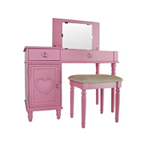Phenomenal Poundex F4176 Bobkona Alice Flip Up Mirror Vanity Set Pink Gmtry Best Dining Table And Chair Ideas Images Gmtryco