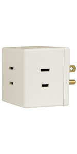 3 outlet polarized 2 prong cube tap wall adapter plug