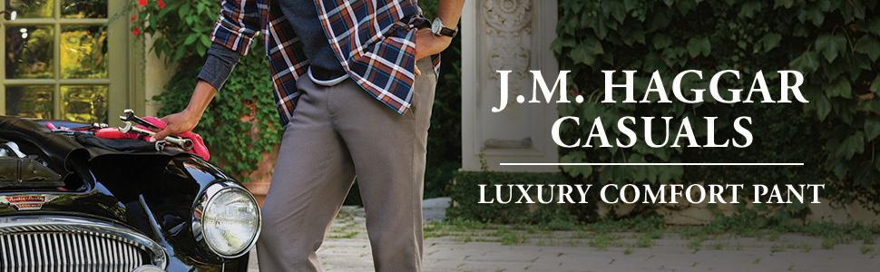 haggar, jm haggar, jm haggar casual pants, casual pants, khakis, mens khakis, luxury comfort casual