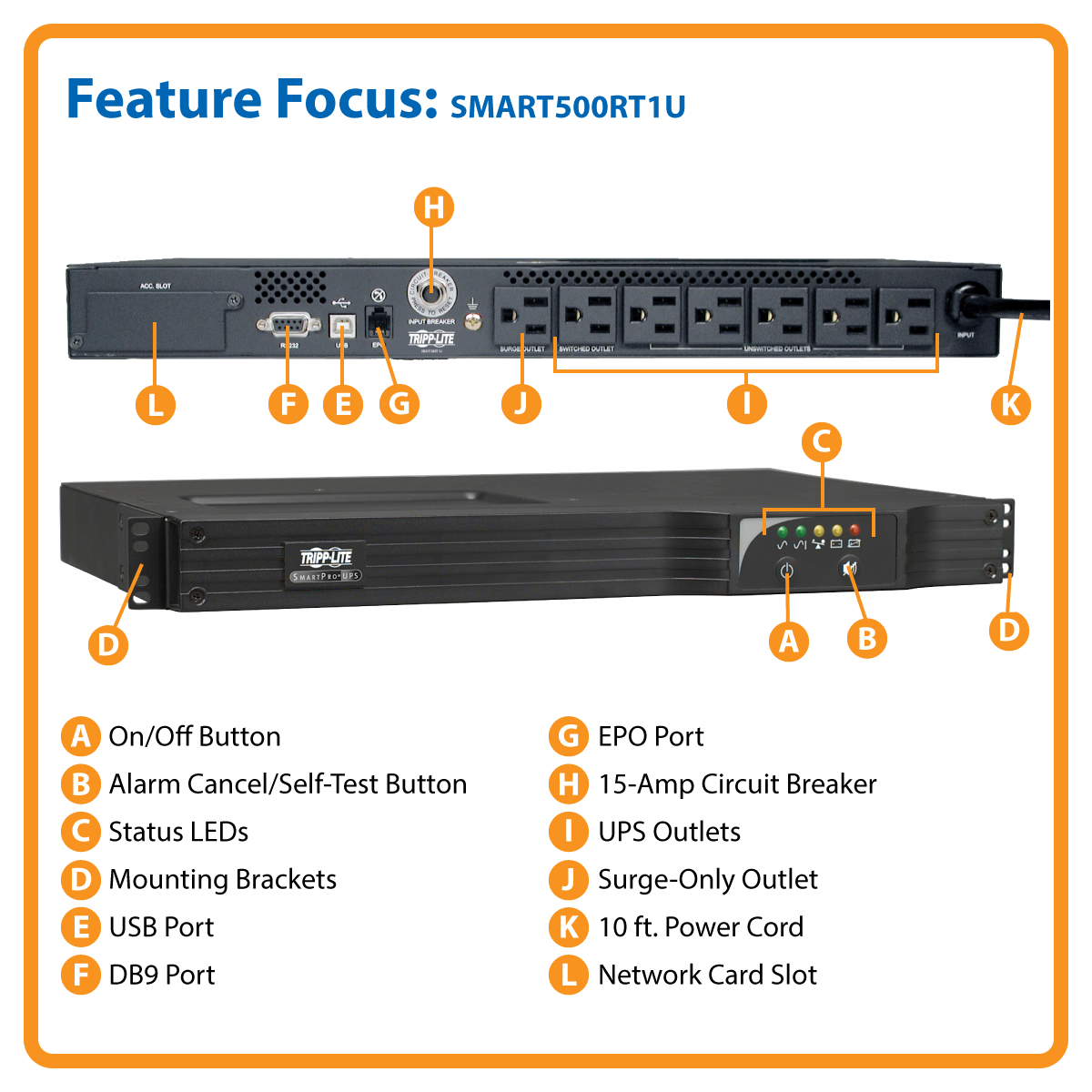 Tripp Lite 500va Smart Ups Back Up 300w Line Interactive 1u Rackmount Network Card Options Usb Db9 Serial Smart500rt1u To Rj11 Cable Wiring Diagram Battery Volts Amps Cables View Larger