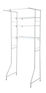 ランドリーラック ランドリー収納 3段 3段 ハンガー 洗剤 置き場 棚 ホワイト