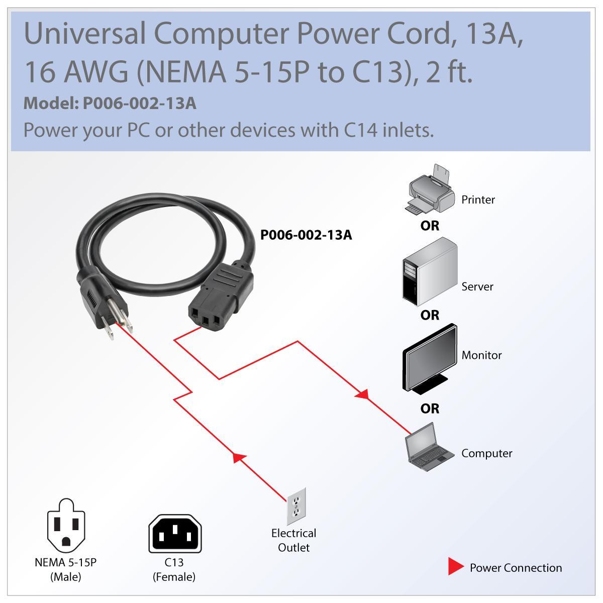 Computer Power Cord  13a  16awg  Nema 5