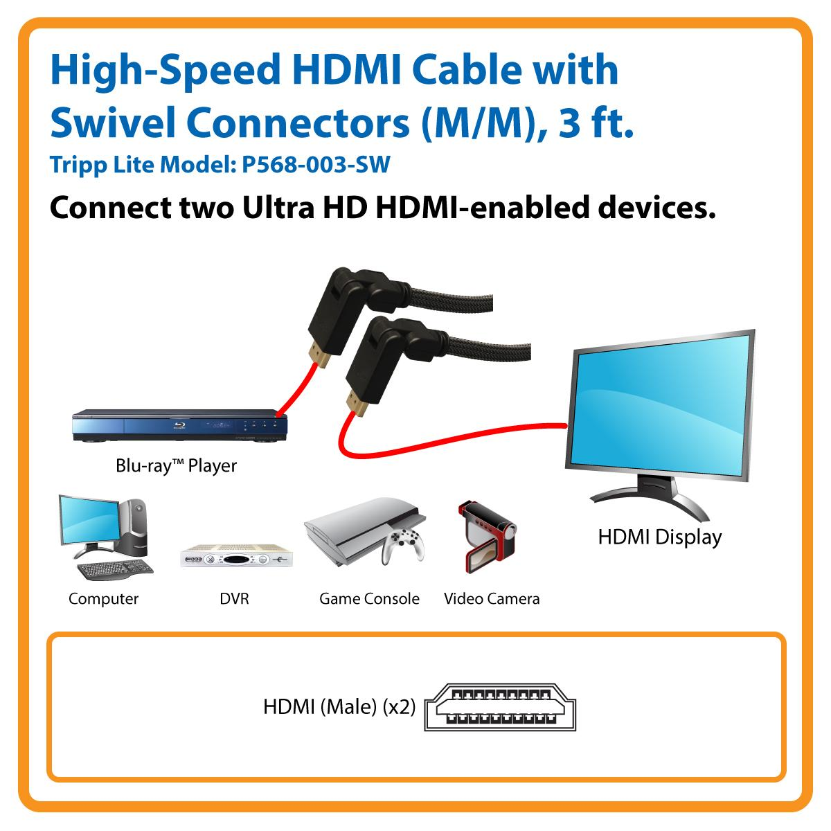 Tripp Lite High Speed Hdmi Cable With Swivel Connectors Cat 6 Jack Wiring Diagram As Well Anatomy Male Reproductive System View Larger