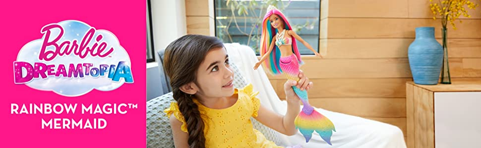 Barbie Bambola Sirena Cambia Colore con Capelli Arcobaleno,Giocattolo per Bambini 3+Anni,GTF89