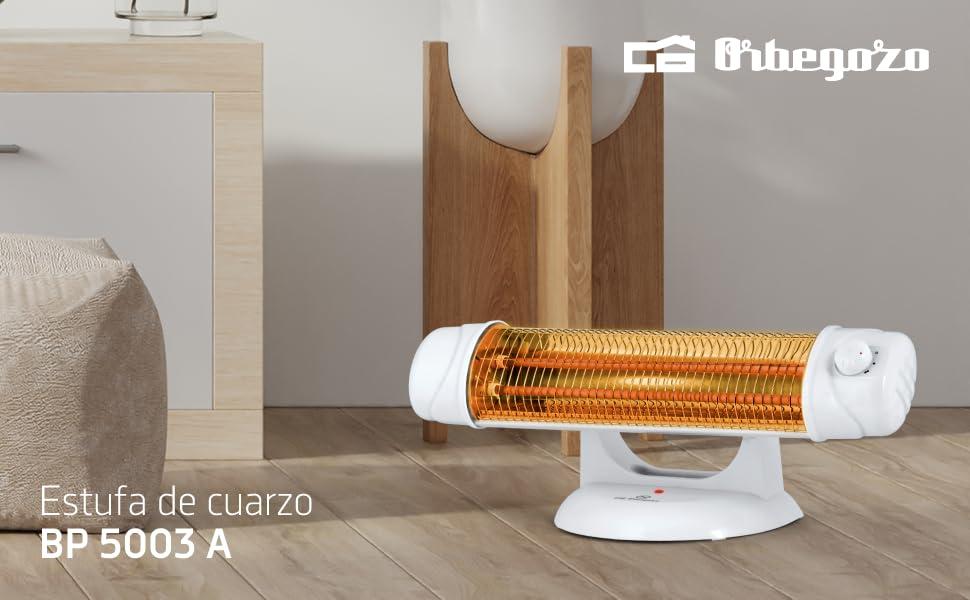 Orbegozo BP 5003 - Estufa de cuarzo, 2 niveles de potencia, sistema antivuelco, pantalla orientable, luz indicadora, control rotatorio, soporte amplio, 1200 W: Amazon.es: Hogar