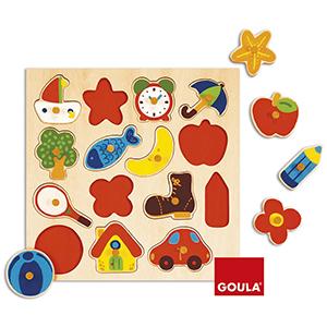 puzle; goula; madera; pivotes