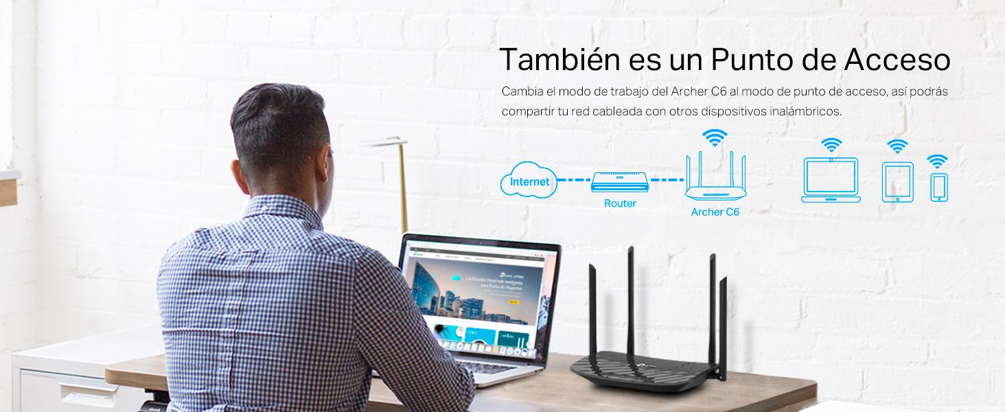 TP-Link Archer C6 - AC1200 Router inalámbrico Gigabit, WiFi MU-MIMO de Banda Dual